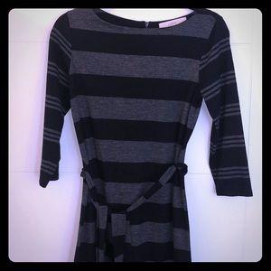 LOFT Black and Grey Striped Dress | XS